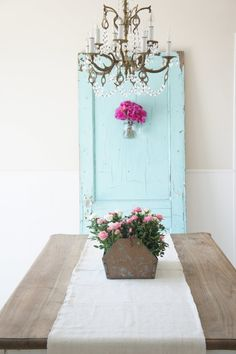 love the tinpot for the flowers and the old door