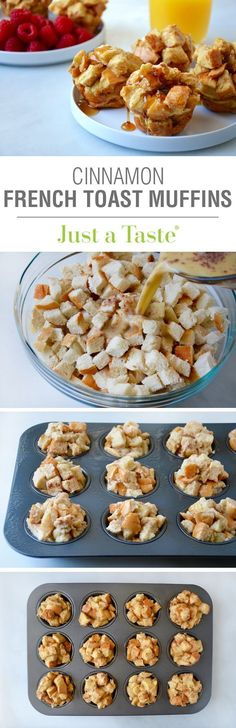 Cinnamon French Toast Muffins #recipe via justataste.com