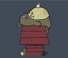 Totoro T-Shirt by Azafran. My Neighbor Peanut is a Peanuts parody t-shirt for fans of Studio Ghibli's My Neighbor Totoro. Hayao Miyazaki, Film Animation Japonais, Manga Anime, Peanuts T Shirts, Chibi, Studio Ghibli Movies, Film D'animation, Howls Moving Castle, My Neighbor Totoro