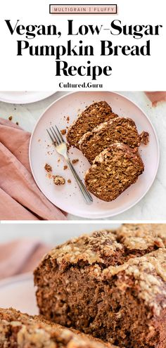 This pumpkin bread is the BEST! (I know, I know) everyone says that but I mean it! This multigrain pumpkin bread is loaded with healthy fiber, it's low-sugar, and it's vegan. It only takes about 10 minutes to mix together and one hour to bake. #pumpkin #bread #banana #pumpkinbread #vegan