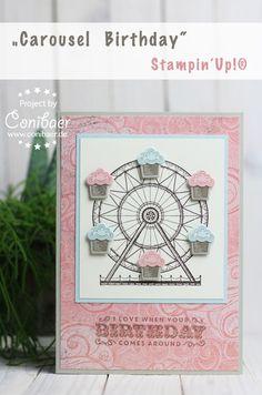 Stampin´Up!, Frühjahr-Sommer-Katalog, Cupcake Carousel, Geburstagskarte, selbstgemacht, basteln
