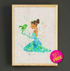 The Prince Frog Watercolor Art Print Disney Princess Poster House Wear Wall Decor Gift Linen Print - Disney - Buy 2 Get 1 FREE - 122s2g