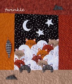mini quilt with kittens sleeping in the clouds Cute Quilts, Boy Quilts, Patchwork Quilting, Applique Quilts, Quilting Projects, Quilting Designs, Clamshell Quilt, Cat Quilt Patterns, Animal Quilts