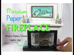 Paper Floor to Ceiling Dollhouse Miniature Fireplace Working Lights and Door How to make diy - YouTube