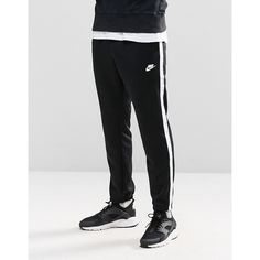 Nike Skinny Tribute Joggers In Black 678637-010 ($61) ❤ liked on Polyvore featuring men's fashion, men's clothing, men's activewear, men's activewear pants, black and nike