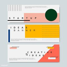 Set of minimal Memphis design start-up banner vector Layout Design, Design Jobs, Web Design, Web Banner Design, Web Banners, Geometric Patterns, Geometric Graphic Design, Minimal Graphic Design, Powerpoint Design