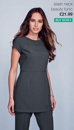 Spring work uniforms | Graphite slash neck beauty tunic, perfect for beauticians, holistic therapists, hairdressers and more. View our spring work uniforms at www.simonjersey.com #spring #workuniform #graphite #beauty #tunic
