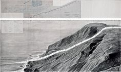 """Christo Running Fence (Project for Marin County and Sonoma County, State of California) Drawing 1976 in two parts 15 x 96"""" and 42 x 96"""" (38 x 244 cm and 106.6 x 244 cm) Pencil, charcoal, elevation profile blueprint and technical data"""