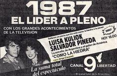 Publicidad de CANAL 9, Buenos Aires, temporada 1987.