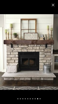 Brick Fireplace Decor, Wood Mantle, Home Fireplace, Fireplace Ideas, Built Ins, Home Remodeling, Family Room, Living Room, House