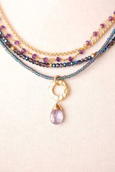 Mid022N unique handcrafted designer iolite gemstone gold plated multistrand necklace for women