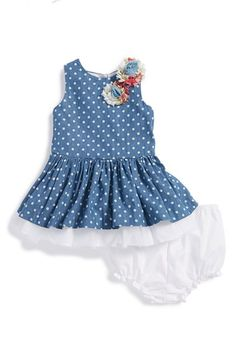 Pippa & Julie Polka Dot Chambray Dress & Bloomers (Baby Girls) | Nordstrom