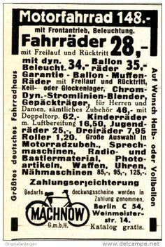 Original-Werbung/ Anzeige 1938 - FAHRRÄDER / MOTORFAHRRÄDER - MACHNOW - BERLIN  - ca. 45 x 75 mm