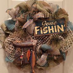 Fishing theme burlap wreath