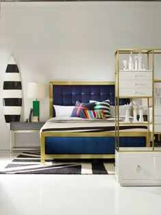 Sporty Balthazar King Upholstered Bed in the Cynthia Rowley for Hooker Furniture Collection New Furniture, Hooker Furniture, Belfort Furniture, Cynthia Rowley, New York Homes, Dream Bedroom, Master Bedroom, Upholstered Beds, Furniture Companies