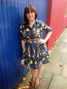 Meadow Vale Dark by Leah Duncan for Art Gallery fabrics.  Pauline Alice's Cami dress pattern