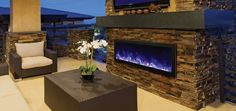 Modern Outdoor Electric Fireplace for the backyard or patio - stylish and elegant outdoor living space