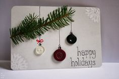 Homemade 3d Christmas Cards With Button And Leaves Fir For Saying Happy Holiday