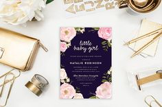 Items similar to Baby Shower Invitation - Sweet Little Baby Modern Shower Invitation - Flowers - JPG Printable DIY File on Etsy Little Baby Girl, Little Babies, Baby Shower Invitations, Party Invitations, Invite, Perfect Party, Color Show, Thank You Cards, Holiday Cards