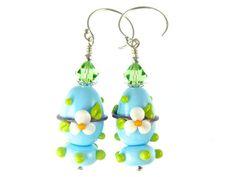 Lampwork Earrings, Easter Egg Earrings, Glass Bead Earrings, Blue Floral Spring Earrings, Glass Bead Jewelry, Lampwork Jewelry