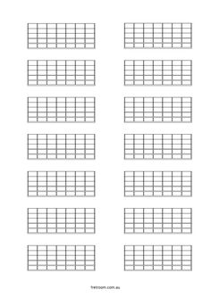 Guitar Fretboard diagrams: Six Fret blank template 6 per ...