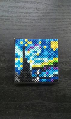 Starry night on 2 & # & # canvas: pearls – Perler beads – Hama Beads Easy Perler Bead Patterns, Melty Bead Patterns, Perler Bead Templates, Diy Perler Beads, Perler Bead Art, Beading Patterns, Hama Beads Coasters, Mini Hama Beads, Peyote Patterns