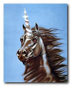 This wall poster will add a charm and elegant pattern to any room setting. This poster captures the image of brown mythical unicorn horse face, a crystal spiral horn growing out of the middle of its forehead with a beautiful big brown eyes looking at something is sure to add lot of attraction. This wonderful poster prevents your living room from looking classy. We offer durable quality product with excellent color accuracy. Order this poster today and enjoy your surroundings.