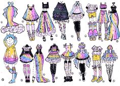 Sky Rainbow outfits by Guppie-Vibes on DeviantArt Art Drawings Sketches, Kawaii Drawings, Cute Drawings, Drawing Faces, Art Illustrations, Character Art, Character Design, Drawing Anime Clothes, Manga Kawaii