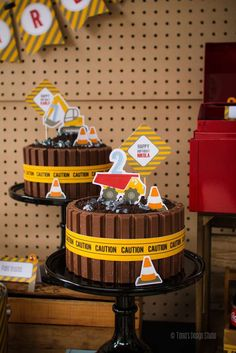 Awesome cakes at a construction birthday party! See more party planning ideas at CatchMyParty.com!