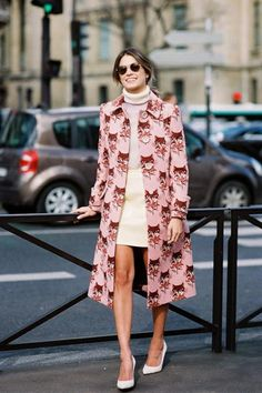 Printed coat over winter whites