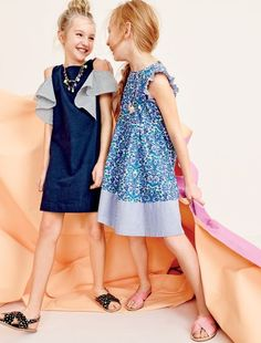 crewcuts girls' off-the-shoulder ruffle dress, star-print Cyprus sandals, ruffle-sleeve dress in Liberty® floral and glitter Cyprus sandals.