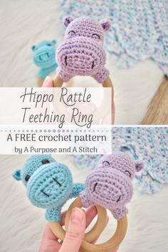 Hippo Rattle Teething Ring- Free Pattern - A Purpose and A Stitch Crochet Hippo, Crochet Baby Toys, Crochet Diy, Crochet Amigurumi Free Patterns, Crochet Baby Booties, Hat Crochet, Afghan Crochet, Crochet Blankets, Baby Rattle