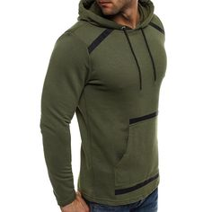 ccb5460d0d1 Men s Solid Color Big Pocket Hooded Long Sleeved Hoodies Sweatshirts
