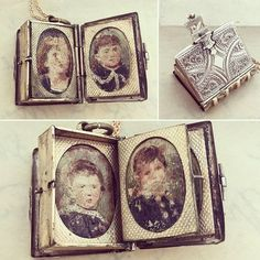 Victorian Book Locket with Portrait Pages