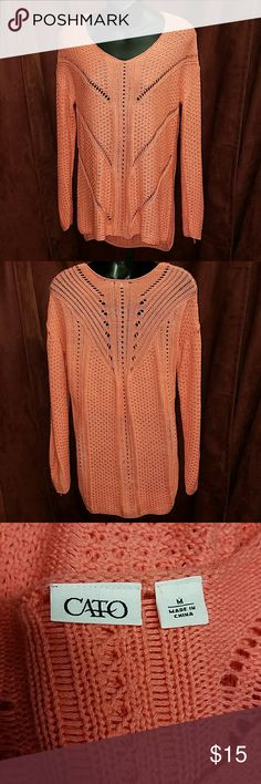 Cato sweater The color is not correct in photos  It's a coral color not Orange  In good condition Cato Sweaters V-Necks