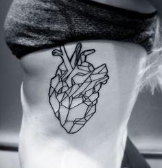 Geometric heart tatt