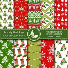 Lovely Holidays - 10 printable High Quality Digital papers http://www.sherykdesigns.com/shop/all-products/lovely-holidays/prod_289.html