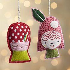 Mushroom Girl Ornaments -- Cut felt, embroider faces, sew, stuff, close. -- from CrateAndBarrel.com