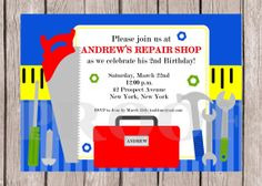 Construction tools birthday party invitation construction tools printable tool time construction themed birthday party invitation you print filmwisefo