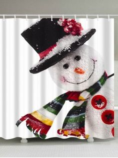 Polyester Waterproof Christmas Snowman Shower Curtain