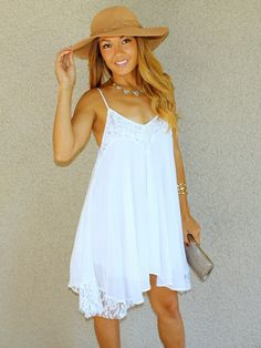Lacey Daisy Babydoll Dress in white - sundress, lace, sweetheart neckline, spaghetti straps, high low, floppy hat