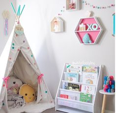 Kids corner, love the teepee filled with cushions. Kmart Australia style kids corner 25 Sweet Reading Nook Ideas for Girls