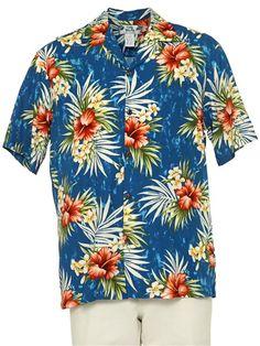 Two Palms Hibiscus Plumeria Fern Blue Rayon Men's Hawaiian Shirt