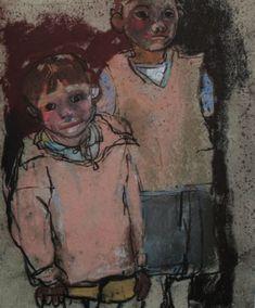 "Joan Eardley, ""Two Children (Boys),"" c.1959-62, pastel on sandpaper, 11 5/8 x 9 5/8 in, Lillie Art Gallery, East Dunbartonshire Council"