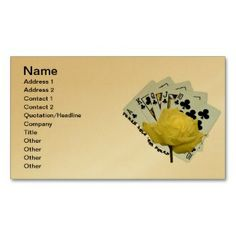 Texas Hold 'em Business Card printed on a gold colored background.  Other colors available.