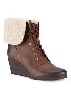 e0c034c34497 UGG Australia Womens Zea Wedge Boot in Chocolate. Lace Up ...