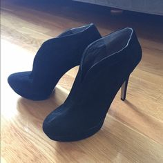 Black suede Booties new without box Super cute would look great with jeans or a dress. I have so many booties I never wore these and thought I should purge my closet a bit. Message me for question Nine West Shoes Ankle Boots & Booties