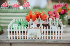 """DIY cake pops were shaped like lettuce heads, carrots, and radishes, some of Peter Rabbit's favorite treats. """"We had an incredible local baker in town create those little marvels, and they looked almost too good to eat . . . until one little bunny"""