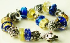 Blue and Yellow. This is not my Trollbead design, but I like the combination of beads on this bracelet!