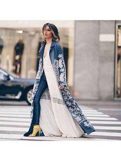 Turndown Collar Printed Colour Long Sleeve Coat - realyiyi.com Abaya Fashion, Kimono Fashion, Modest Fashion, Indian Fashion, Boho Fashion, Autumn Fashion, Fashion Dresses, Womens Fashion, Fashion Design